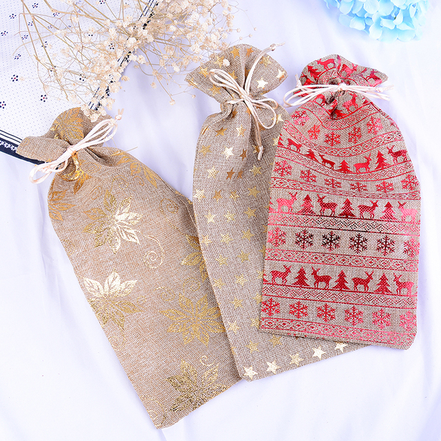 Us 1 35 16 Off 1pc Chrismas Wine Champagne Bottle Cover Bags Jute Burlap Drawstring Covers Weddings Party Supplies In Gift