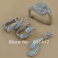 Fashion White Crystal 925 Silver Micro Inlays Jewelry Heart Classic Set Ring Earring Pendant 3131 Set