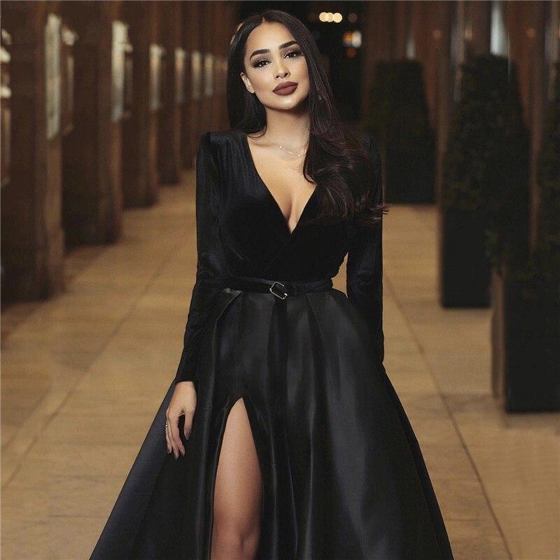 Black Sexy   Evening     Dresses   Deep V-Neck Long Sleeves Satin Formal   Dress   High Slit Dubai Kaftan Arabic Elegant   Evening   Gowns 2019