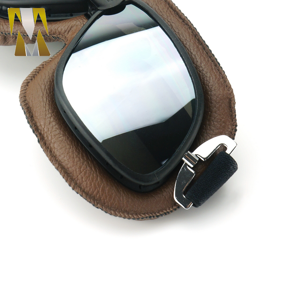 Vintage Pilot Eyewear Mirrored Lenses Helmet Goggles Glasses Motorcycle Goggle Biker Leather For Motorcycle Bike ATV Google