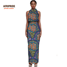 AFRIPRIDE Private Custom 2017 new female suit set sleeveless top+ankle-length skirt plus size pure cotton suit for women A722620