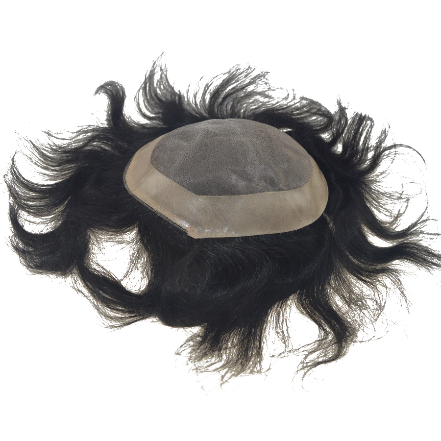 Toupee Indian Human Hair Men Systems Mono Lace And Pu Natural Color Remy Hair