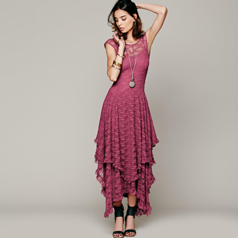 Boho hippie V-back dress Asymmetrical high low embroidery lace maxi dresses ruffled long tank dress FS0177