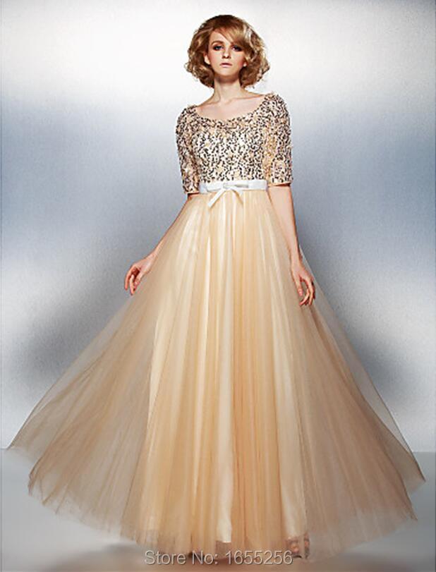 nt11801 prom dress Scalloped long gold prom dresses vestido de festa curto sequin dress short sleeve prom dresses-in Prom Dresses from Weddings & ...
