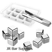 Set Of 8 Stainless Steel Whiskey Stones Cube Glacier With Plastic Storage Box Tongs Drink Chilling