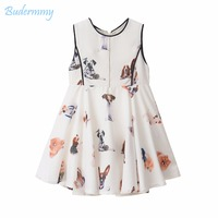 Budermmy Girls Dress Print Various Lovely Dog Dress With Sequined Diamond 2017 New Style Summer White
