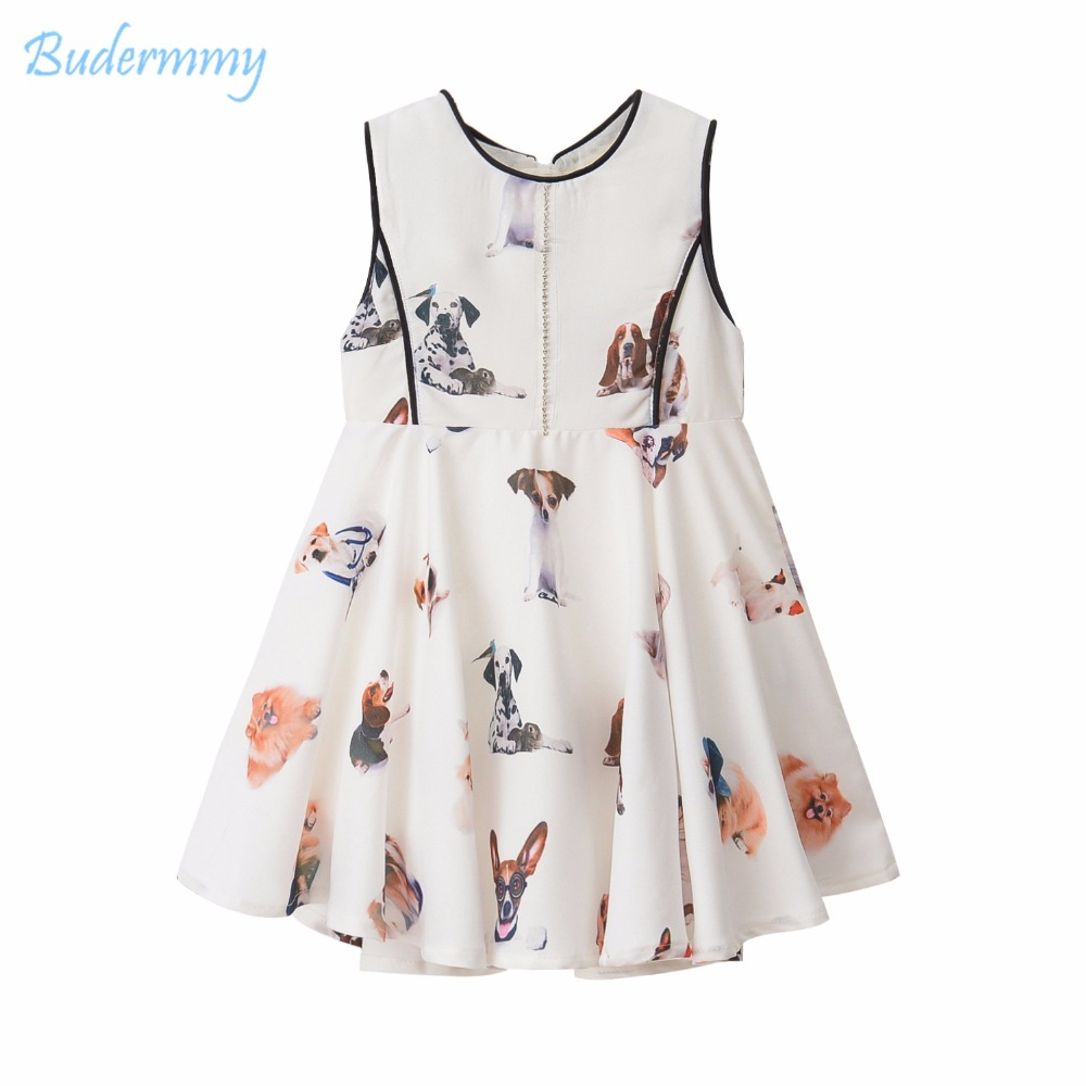 Girls Dress Print Dog Dress Summer Diamond White Wedding Dress for 2 3 4 5 6 7 8 Years kids Clothes Princess Children's Dresses populous baby kids girls clothes princess black short fashion summer cool solid partytulle dresses 2 3 4 5 6 7 years