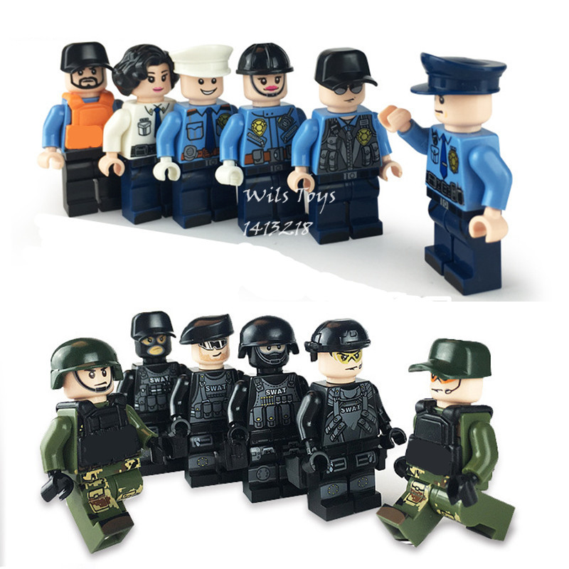 12pcs Assault Storm Military WW2 SWAT Soldiers Army Special Forces CS Building Blocks Bricks Figures Educational Toys Gifts Boys military ww2 german swat soldiers