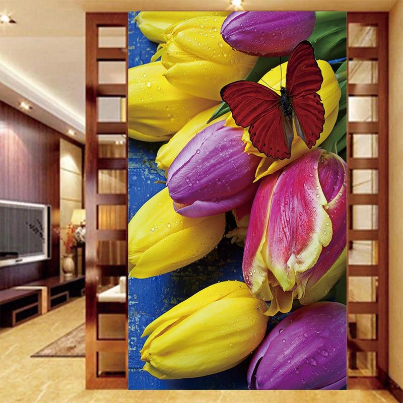 Custom Mural Wallpaper Stereo Beautiful Tulip Flower Butterfly Background Decor Mural Living Room Bedroom Waterproof Wallpaper