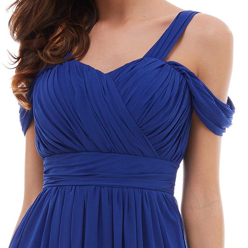 Tanpell banden prom klänning billiga mörk kunglig blå golv längd - Särskilda tillfällen klänningar - Foto 4