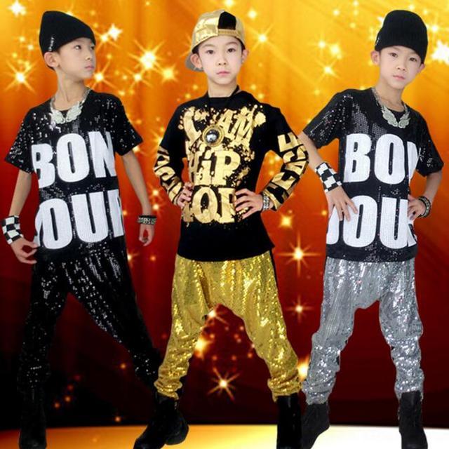 Moda coreana Boy Girls lentejuelas Hip-Hop ropa nuevos niños Jazz traje Top  y pantalones 6cb4014eaa9
