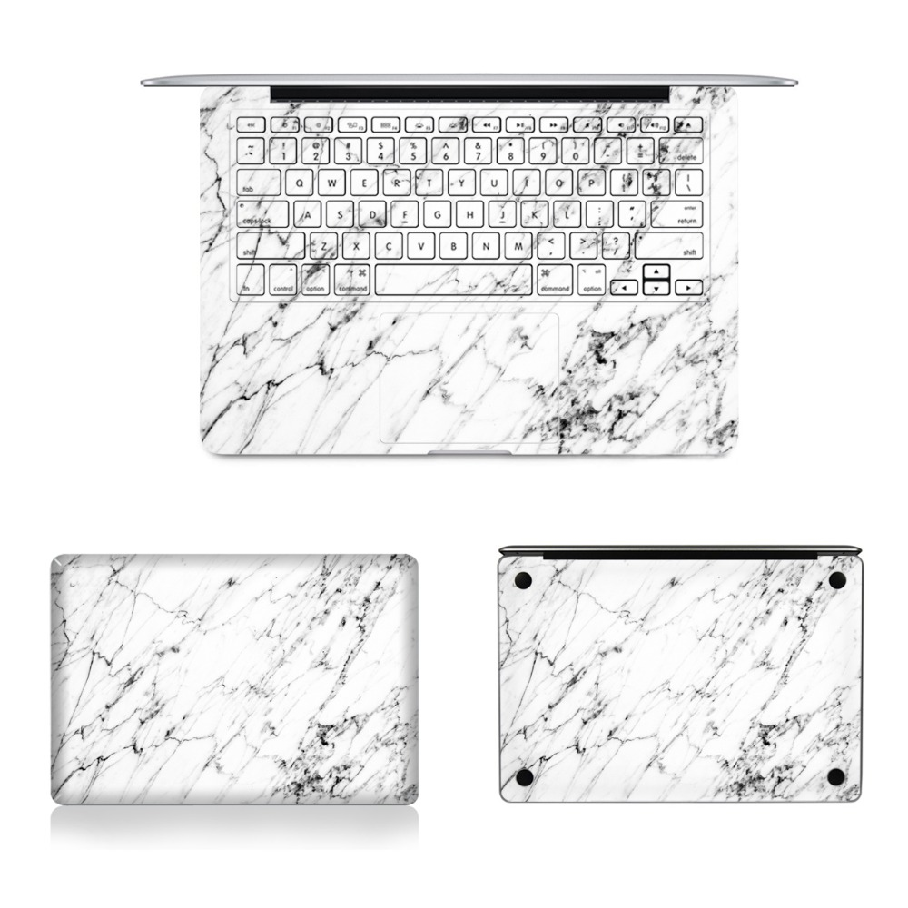 Laptop Full Vinyl Decal Top Bottom and Keyboard Side White Marble Granite Sticker Skins For Macbook Air Retina Pro 11121315 colorful laptop sticker decal skins for macbook 11 13 15 17 inch sticker for mac book rainbow logo free shipping new arrival