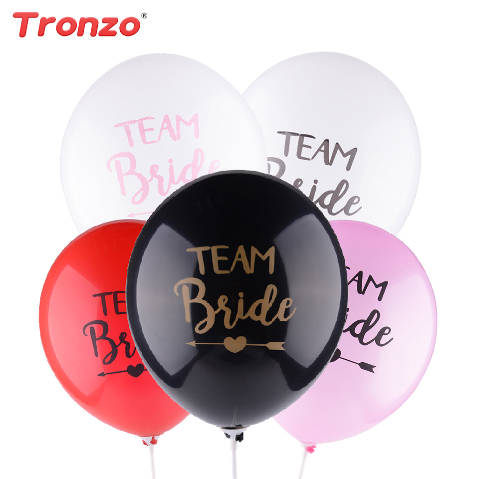 Tronzo 10pcs Team Bride Latex Balloon 12Inch For Wedding Bride and Groom Balloons Bachelorette Party Wedding Decoration