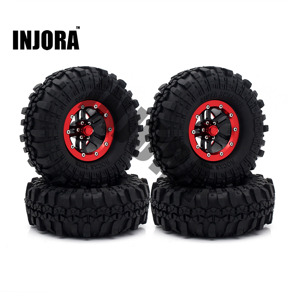 INJORA 4PCS Metal Red Beadlock Wheel Rim Tires for 1 10 RC Rock Crawler Axial SCX10