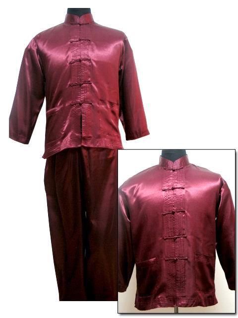 Free Shipping ! Burgundy Men's Polyester Satin Pajama Sets Jacket Trousers Sleepwear Nightwear SIZE S M L XL XXL XXXL M3011