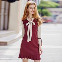 2017 Autumn New Fashion Brand Hollow Cut Knit Dress Women S Hit The Color Bow Ties