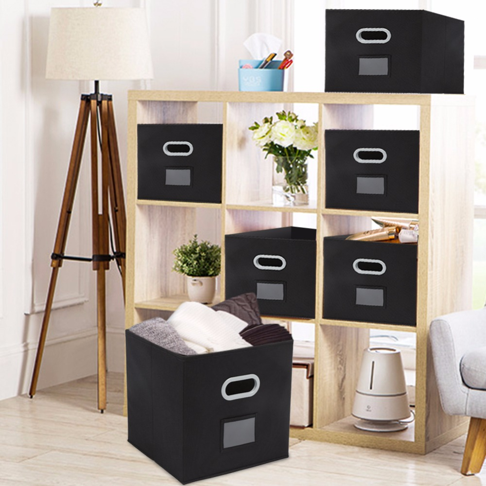 Magicfly 6Sets Foldable Non woven Organizers Basket Cubes Cloth Storage Bins with Label holder&Plastic Handle Toy Storage Black