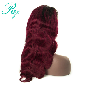 Image 4 - 13X4 #1B/99J Color Ombre Peruvian Human Hair Wigs Lace Frontal Body Wave Hair Wigs With Baby Hair Burgundy Remy Wig Riya