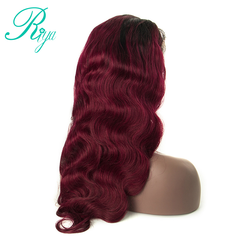Riya Hair #1B/99J Color Ombre Peruvian Human Hair Wigs Lace Frontal Body Wave Hair Wigs With Baby Hair Burgundy Remy Wig