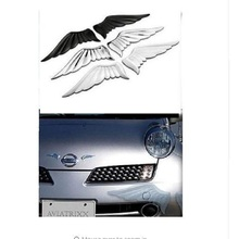 3D Alloy Metal Angel Hawk Wings Emblem Badge Decal Car Logo Sticker golden silver color optional 1pair for all car decoration b0103 angel wings style pvc car body sticker silver
