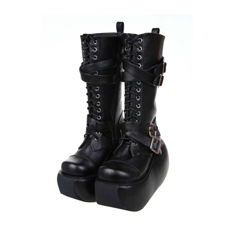 Princess sweet punk shoes lolita spring Side zipper round head cos and punk cool fashion Zipper high boots women pu7002