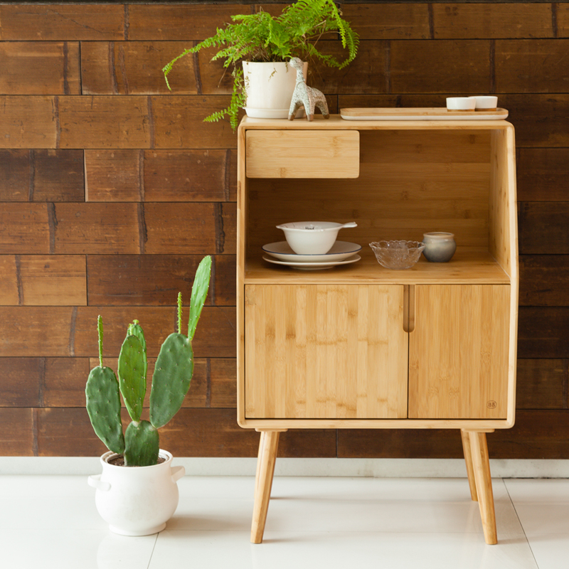 ZENS BAMBOO Nightstand Miti Function Storage Drawer Cabinet Bed Side Table Living/Bedroom Funiture