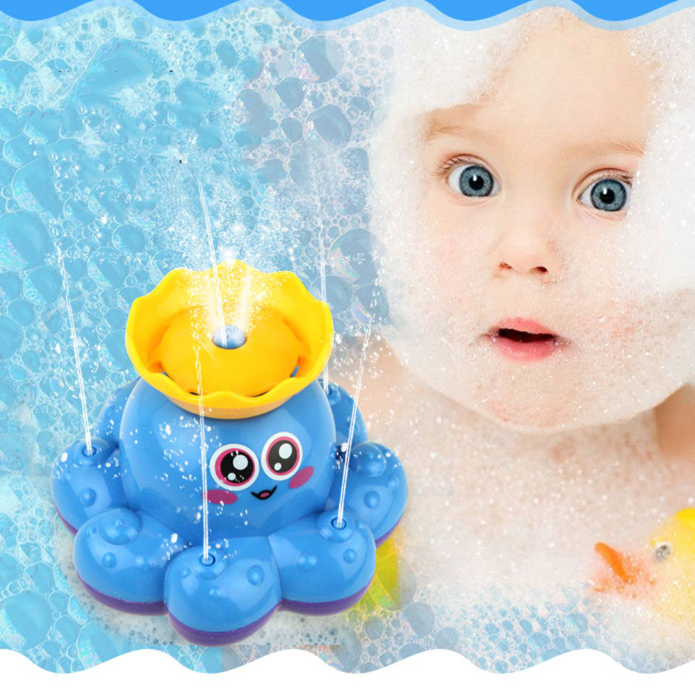 Cartoon Spraying Water Baby Bath Toys Infant Electric Rotating Water ...