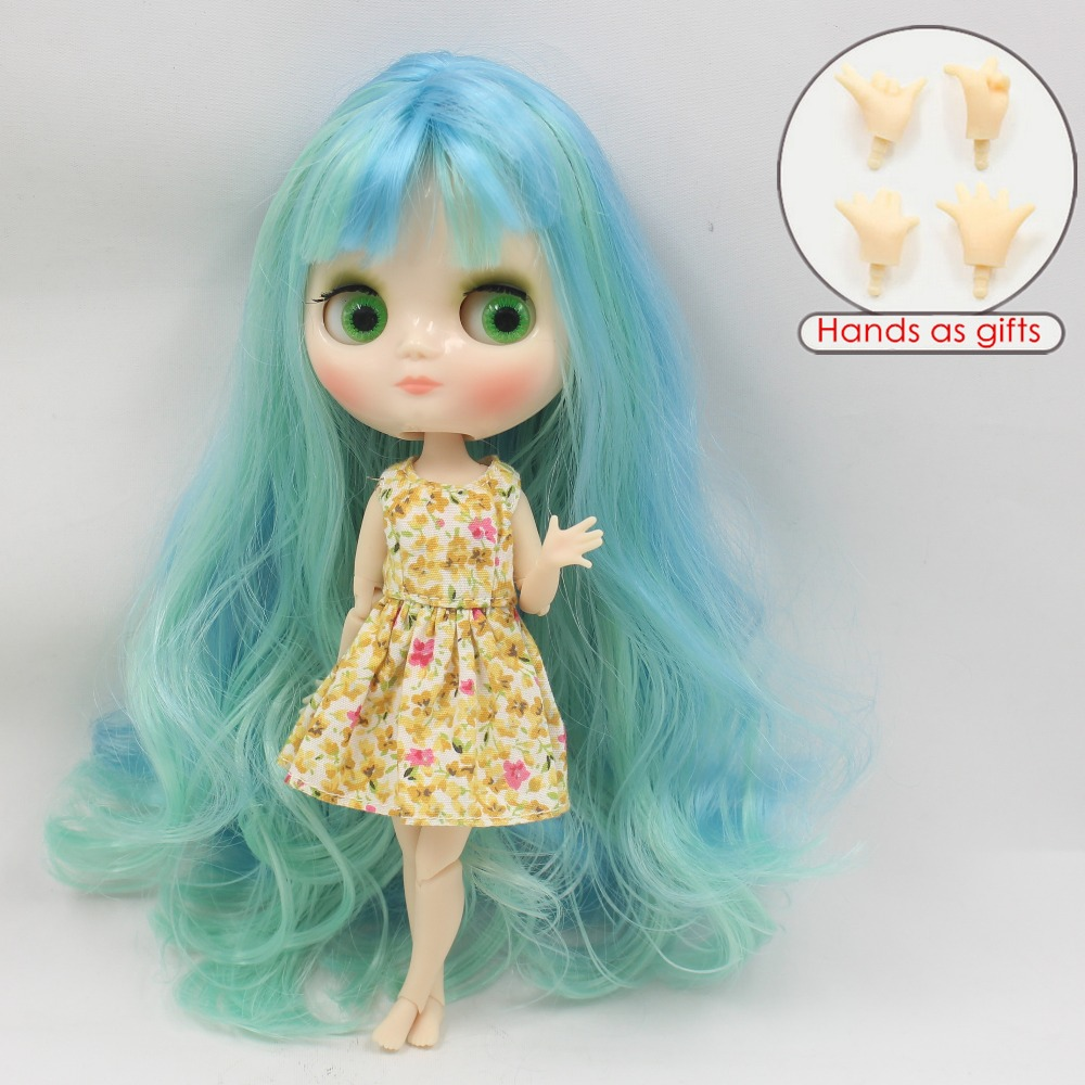 Free shipping middie doll 400/6005 Blue mix Mint hair joint body 1/8 20cm bjd gift toy neo white skin цена