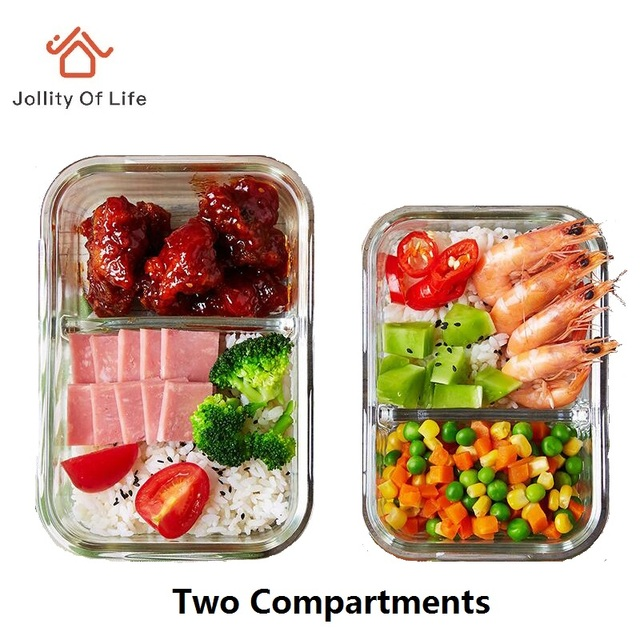 2 divided compartments glass lunch box dinnerware set for Decor 6 piece lunchbox