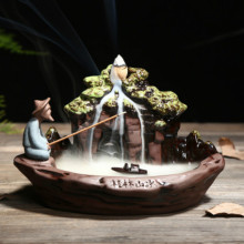 Backflow Incense Burner Home Decor Ceramic Smoke Stick Holder Censer + 10Pcs Cones E $