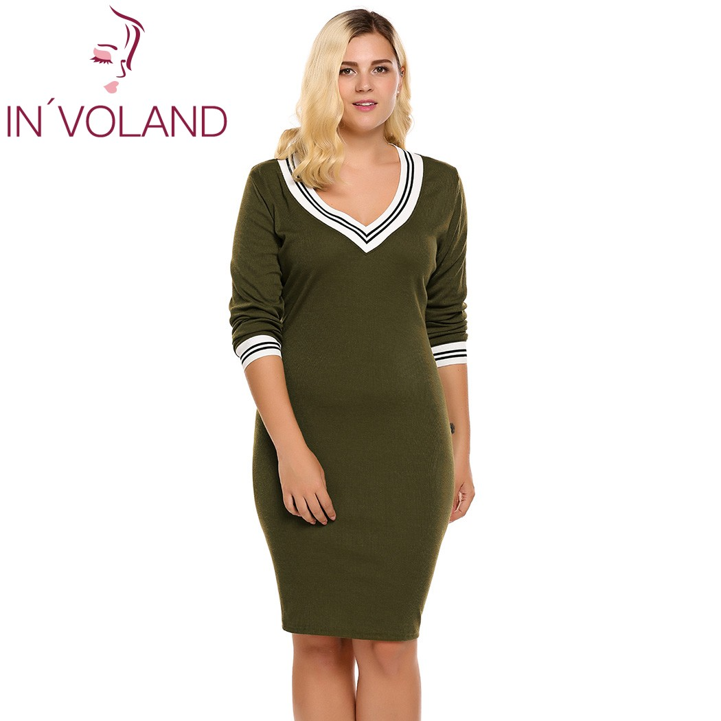 IN\'VOLAND Women\'s Sweater Dress Plus Size Deep V Neck Long Sleeve ...