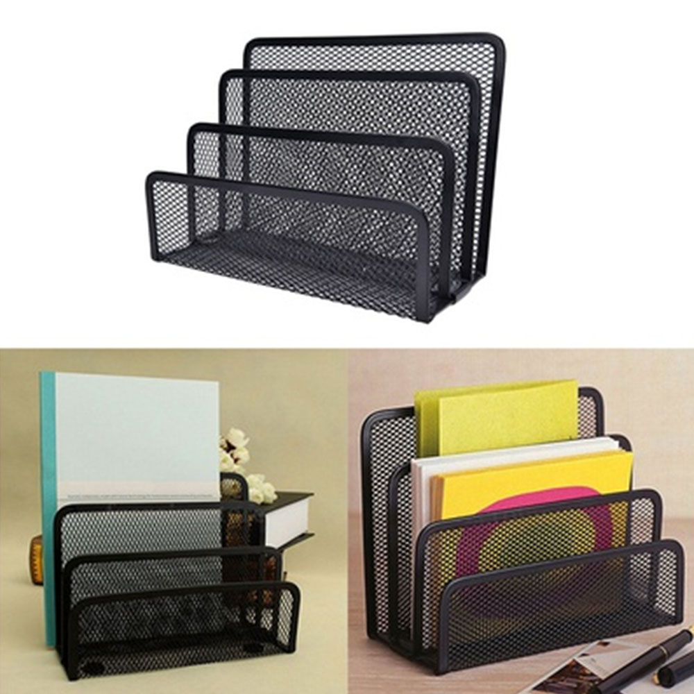 Black Mesh Letter Paper File Storage Rack Holder Tray Organiser Desktop Office P15