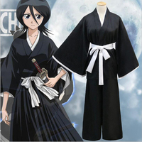 H&ZY Men Women Unisex Anime Bleach Cosplay Clothing Black Shinigami Death Kimono Carnaval Disfraces Halloween Costumes