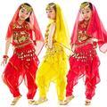 12 компл./лот племенной танец живота одежда комплект ( блестки бюстгальтер топ + поворот брюки ) дети девушки танцуют костюм tsc01s2