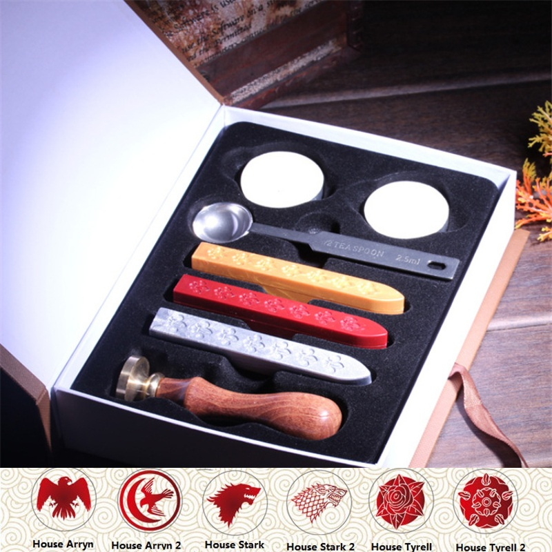 1 SET Retro Game of throne Badge Sealing Wax Stamp For Envelopment Seal Wedding Invitation Letter Postmark Gift Box Packing retro harry potter post service owl wax seal stamp copper head diy scrapbooking vintage sealing wedding envelop gift box set