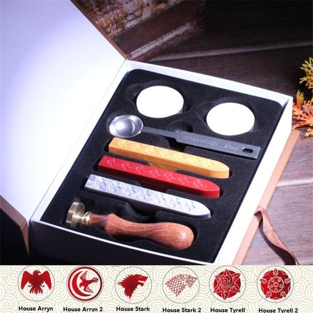 1 Set Retro Game Of Throne Badge Sealing Wax St For Envelopment Seal Wedding Invitation Letter Postmark Gift Box Ng