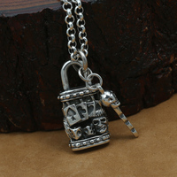 Handmade 925 Silver Lock Skull Pendant vintage thai silver skull Key pendant man Puck pendant