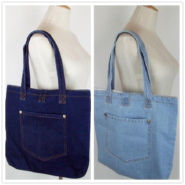 New Fashion Simple Vintage Pockets Jeans Denim Women Bags HandBags Girls  purse Shoulder Shopping Bag Fold Over bolsa feminina 5bb679b54c186