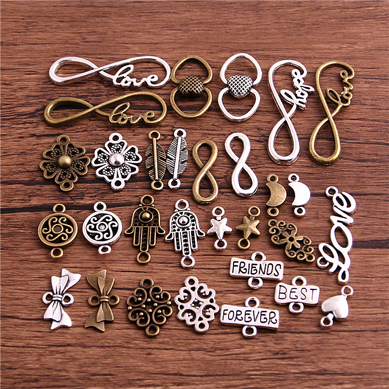 20pcs Two Color Metal Alloy Vintage Mix Jewelry Connectors For Diy Handmade Jewelry Bracelet Charms Making|Charms|   - AliExpress