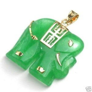 Vogue Green jade elephant pendant/necklace Anhnger     Free Shipping
