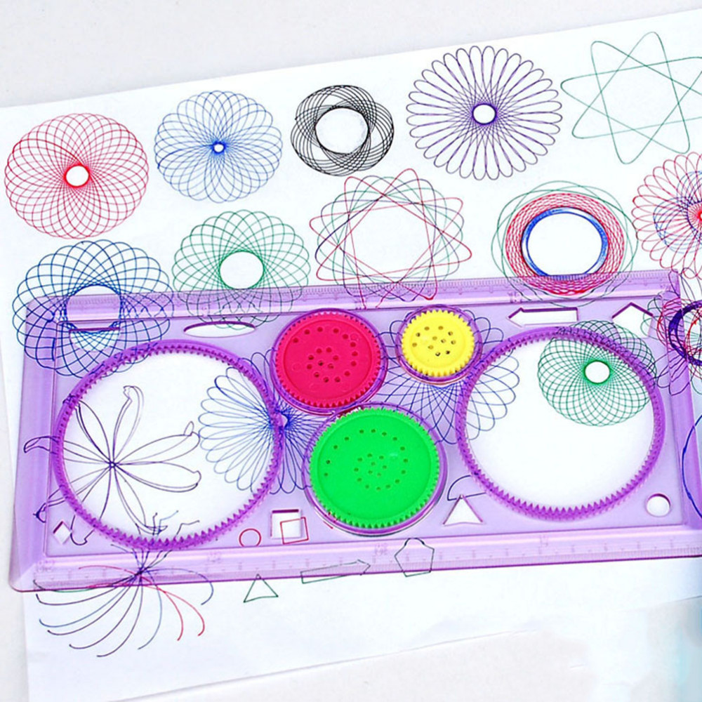 1PC Kids Children Spirograph Geometric Ruler Learning Drawing Tool Stationery For Student Drawing Set Creative Gift 20cm*10cm