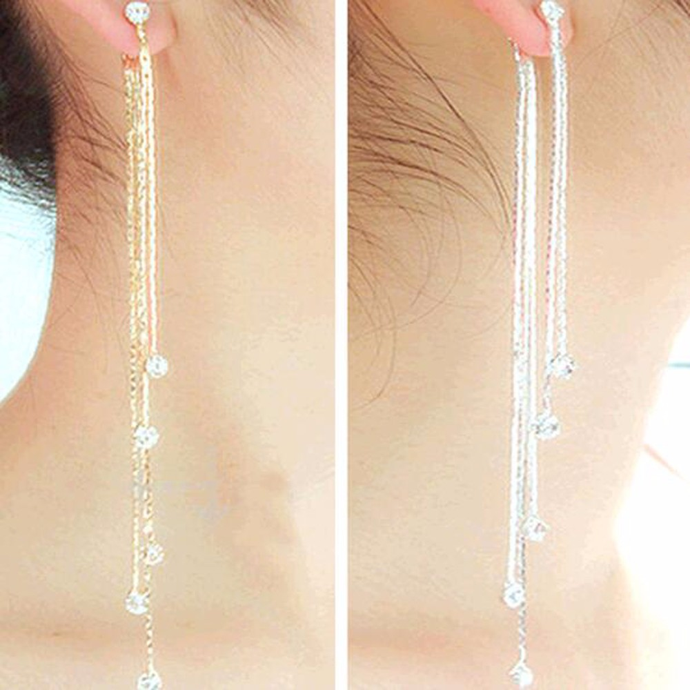 IPARAM 2020 New Arrival Fashion Gold Silver Color Long 5 Chain Tassel Drop Earrings For Women Girl Charm Crystal Jewelry
