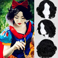 2016 Disney Princess Snow White Costume Wig Pelucas Cortas De Pelo Natural Black Short Curly Wave Halloween Synthetic Hair Wigs