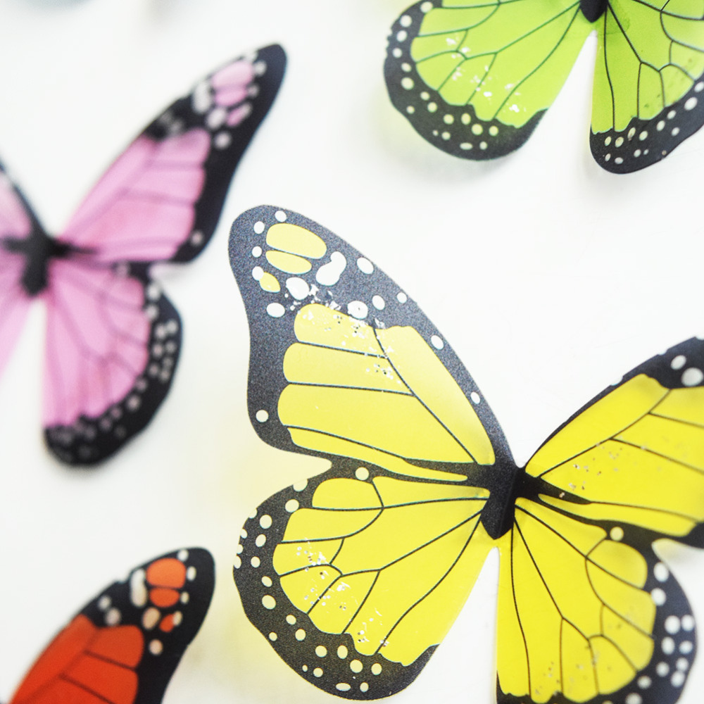 Beautiful Crystal 18Pcs 3D Butterflies Home Decor Wall Stickers ...