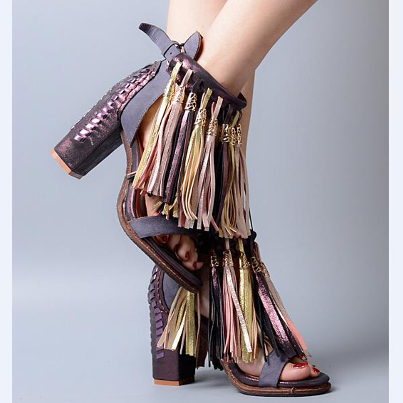 Open Toe Fringe Embellished High Heel Ankle Strap Sandals Vintage Multicolored Genuine Leather Party Vocation Dress Shoes young girl s black suede open toe lace up ankle sandal boots stiletto heel fringe dress shoes braid embellished party shoes
