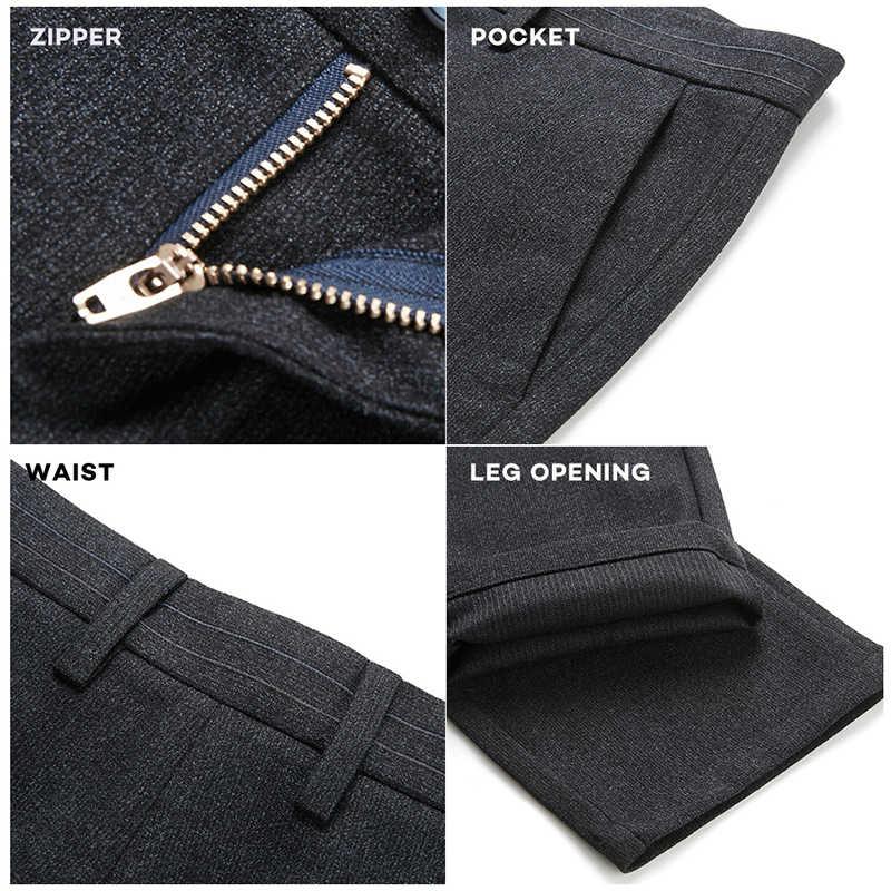 Seven7 marka zima na co dzień Formalne spodnie dla mężczyzn mężczyzna elastyczne długie spodnie klasyczne grube wełniane męskie spodnie Plus rozmiar 115S80010