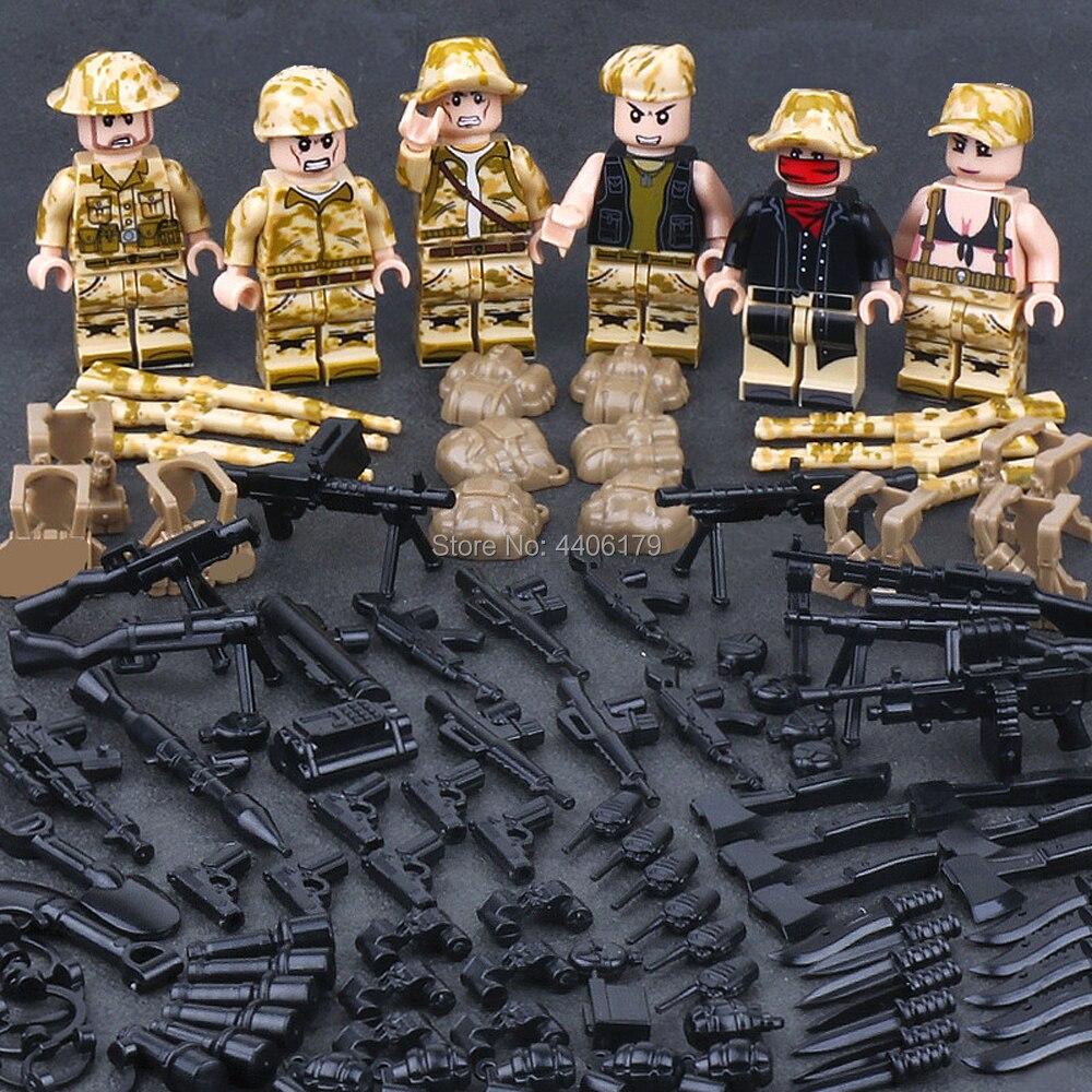 hot compatible LegoINGlys military WW2 army war Jedi survival mini Special forces figures Building Blocks weapons gun brick toys
