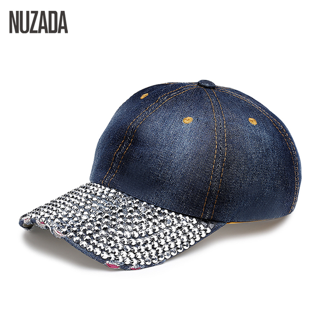 Brands NUZADA Fashion Classic Women Hats Baseball Cap Rhinestone Hip Hop  Snapback Caps Popular Luxurious 53c59732773c