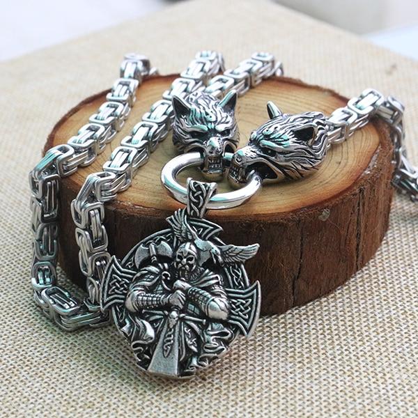 Uomini collana in acciaio inossidabile vichingo testa di lupo con Odin da Helena Rosova collana pendente norse talismano gioielli etnici