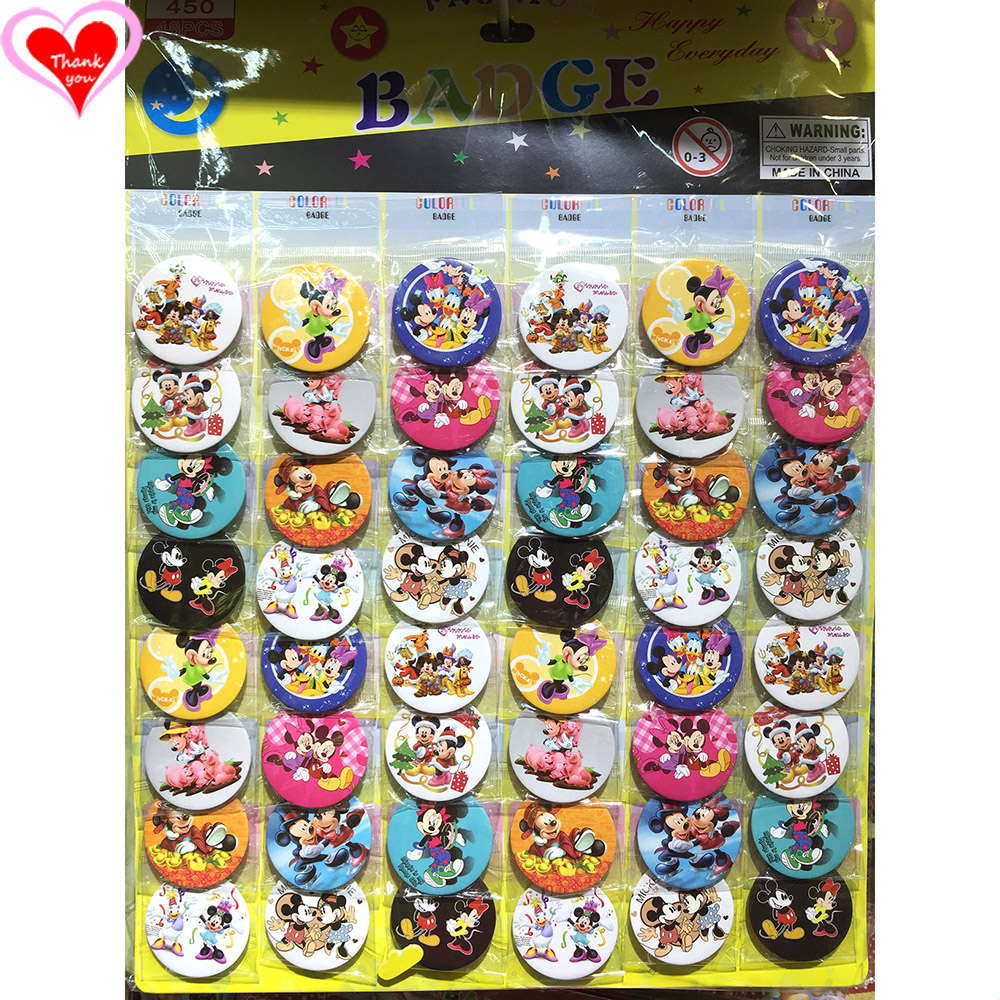 Love Thank You Mickey and Minnie Mouse 45MM 16/24/32/40/48 pcs lot PIN BACK BADGE BUTTON BROOCH for BAG GIFT TOY CLOTH Anime 30cm mickey mouse and minnie mouse toys soft toy stuffed animals plush toy dolls